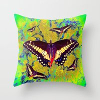 butterflies Throw Pillows featuring butterflies  by  Agostino Lo Coco