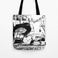 pittsburgh Tote Bags featuring PITTSBURGH, PENNSYLVANIA by Alberto Matsumura