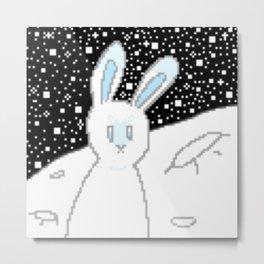 Pixel Moon Rabbit Metal Print