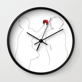 Death Note - Light Yagami and L Lawliet sihlouettes only and apple (black)   Anime and manga Wall Clock