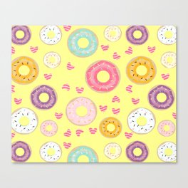 hearts and donuts yellow Canvas Print