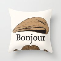 bonjour Throw Pillows featuring Bonjour by Jacob Waites