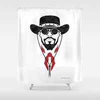 django Shower Curtains featuring Iconic Django by Arne AKA Ratscape