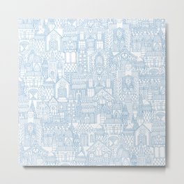 gingerbread town blue Metal Print
