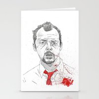shaun of the dead Stationery Cards featuring Shaun of the Dead by Andy Christofi