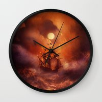 nan lawson Wall Clocks featuring Perfect storm. by Viviana Gonzalez