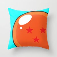 dragonball z Throw Pillows featuring Sacred Dragonball by Hussein Ibrahim