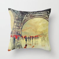 takmaj Throw Pillows featuring Winter in Paris by takmaj