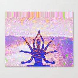 Kali Goddess Sunset Landscape with Tribal Glitch Pattern Canvas Print