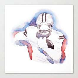 American Football Player Watercolor Painting by #Mahsawatercolor Canvas Print