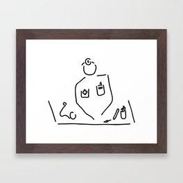 doctor with medicine utensils Framed Art Print