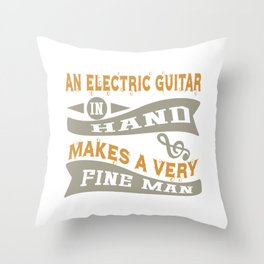 Electric Guitar in Hand Throw Pillow