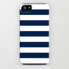 Slate Blue and White Stripes  - Navy Nautical Pattern iPhone Case