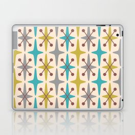 Mid Century Modern Abstract Star Pattern 441 Gray Brown Turquoise Olive Green Laptop & iPad Skin