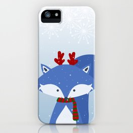 Cute Fox Wintery Holiday Design iPhone Case