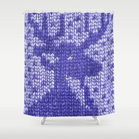 knitting Shower Curtains featuring Knitting On Paper by Bomburo