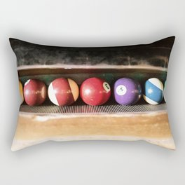 Group of vintage pool balls inside the table, closeup, retro style. Rectangular Pillow