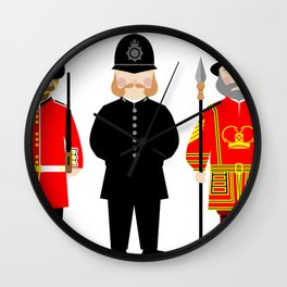 London Uniforms and Moustaches Wall Clock