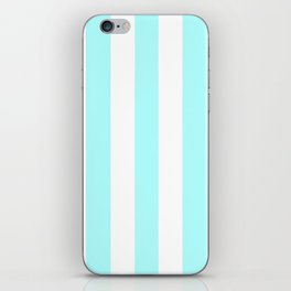 Celeste heavenly - solid color - white vertical lines pattern iPhone Skin