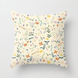 Retro Botanical Throw Pillow