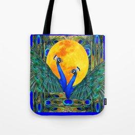 FULL GOLDEN MOON & 2  BLUE PEACOCKS PATTERN ART Tote Bag