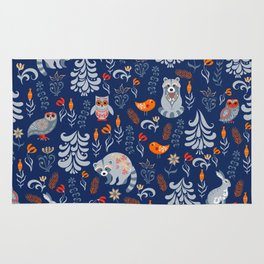 Fairy forest with animals and birds. Raccoons, owls, bunnies and little chick. Rug