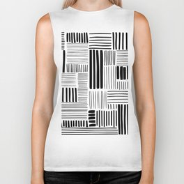 Black and White Abstract Pattern Biker Tank