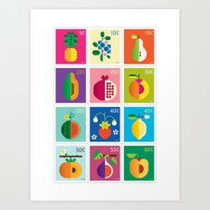 Fruit Stamps 12 Art Print
