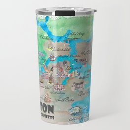 Boston Favorite Map with touristic Top Ten Highlights in colorful retro style Travel Mug