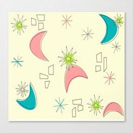 Boomerangs and Starbursts Yellow Canvas Print