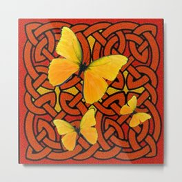COFFEE BROWN YELLOW BUTTERFLIES CELTIC ART PATTERN  ART Metal Print