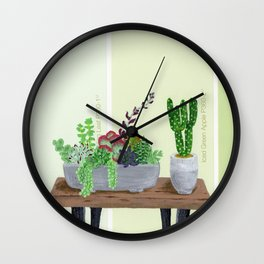 Cacti and Succulents on Greens Wall Clock
