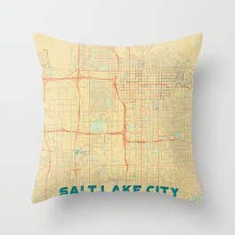Salt Lake City Map Retro Throw Pillow