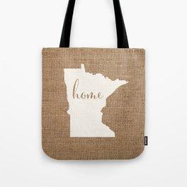 Minnesota is Home - White on Burlap Tote Bag