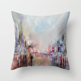 Spring urban landscape (OIL ON CANVAS) Throw Pillow