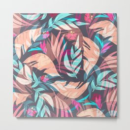 Tropical Exotic Flowers Hand Drawn Style Metal Print