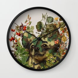Camo Chihuahua Forest Adventure Wall Clock