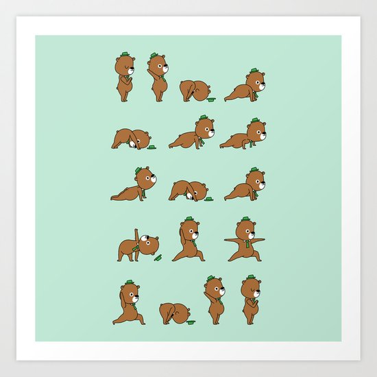 Yoga Bear Art Print