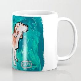 Beagle Dog Painting on Emerald Green Coffee Mug