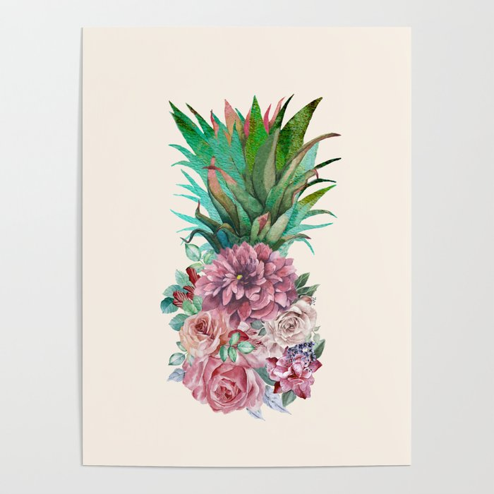 Floral Pineapple Poster