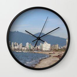 View of Vancouver from Kits Beach Wall Clock