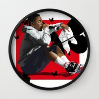 kendrick lamar Wall Clocks featuring Kendrick Lamar by MikeHanz