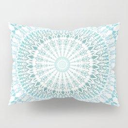 Turquoise White Mandala Pillow Sham