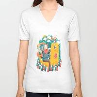 unicorn V-neck T-shirts featuring Unicorn by Seaside Spirit