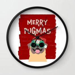 Pug Christmas Merry Pugmas Cut Gift for Pug Owners Wall Clock