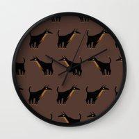 doberman Wall Clocks featuring Doberman - Pattern by Reimena Ashel Yee