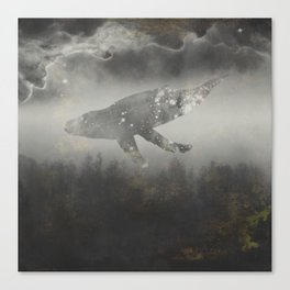 Dream Space - Surreal Image with A Whale Canvas Print