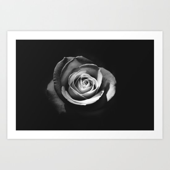BLACK - WHITE - ROSE Art Print