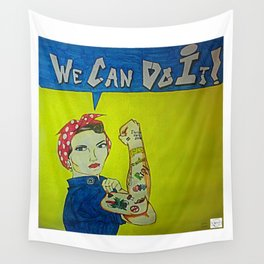 Modern Rosie the Riveter Wall Tapestry