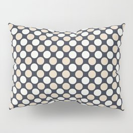 Beige and Off White Uniform Large Polka Dots on Dark Blue Matches Jolie Classic Navy Blue 2020 color Pillow Sham